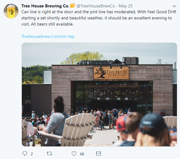 Tree House Twitter screengrab for 50 Fastest Growing Craft Breweries post