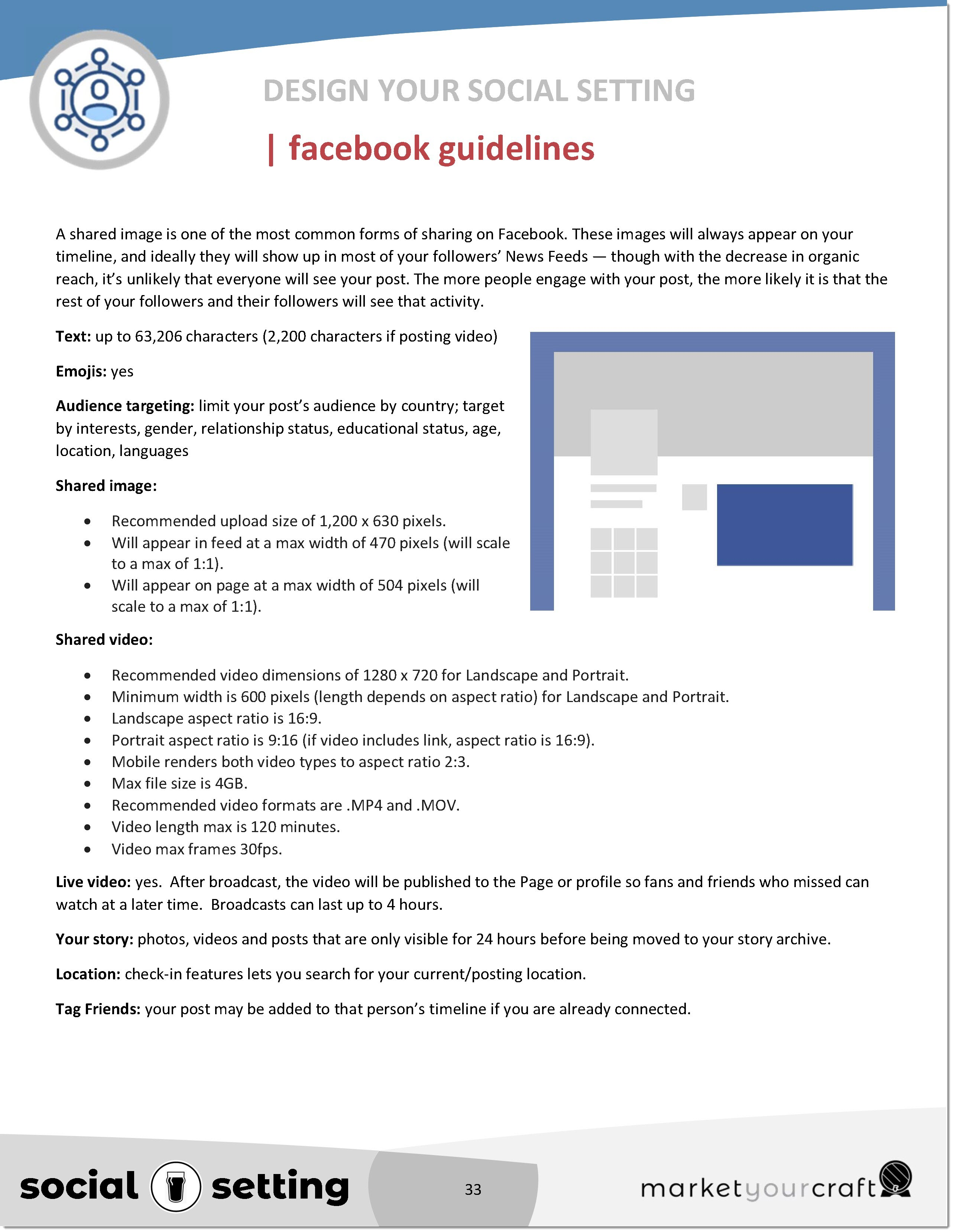Market Your Craft - Social Setting - Facebook guidelines